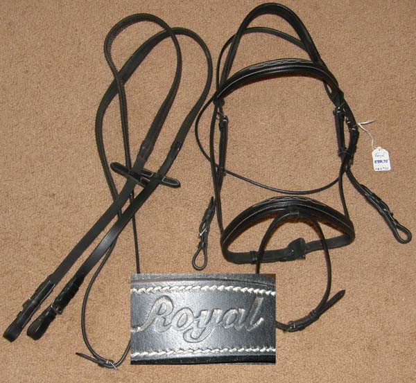 Royal Fancy Square Raised Snaffle Bridle Comfort Crown English Bridle with Rubber Reins Event Bridle Black Padded Lined Dressage Bridle Flash Noseband Attachment Rein Stops Cob