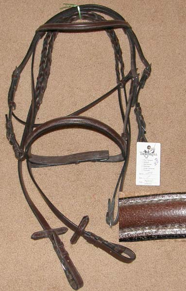 Thornhill Victoria Raised Snaffle Bridle Round Raised Pony English Bridle with Laced Reins Dark Brow