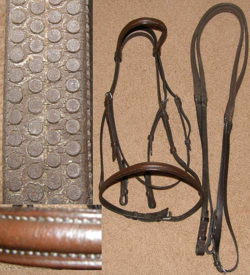 Crosby? Beval? Round Raised English Bridle with Rubber Reins Snaffle Bridle Dark Brown Horse