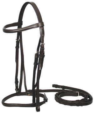 Round Raised English Bridle Snaffle Bridle Laced Reins Dark Brown Horse