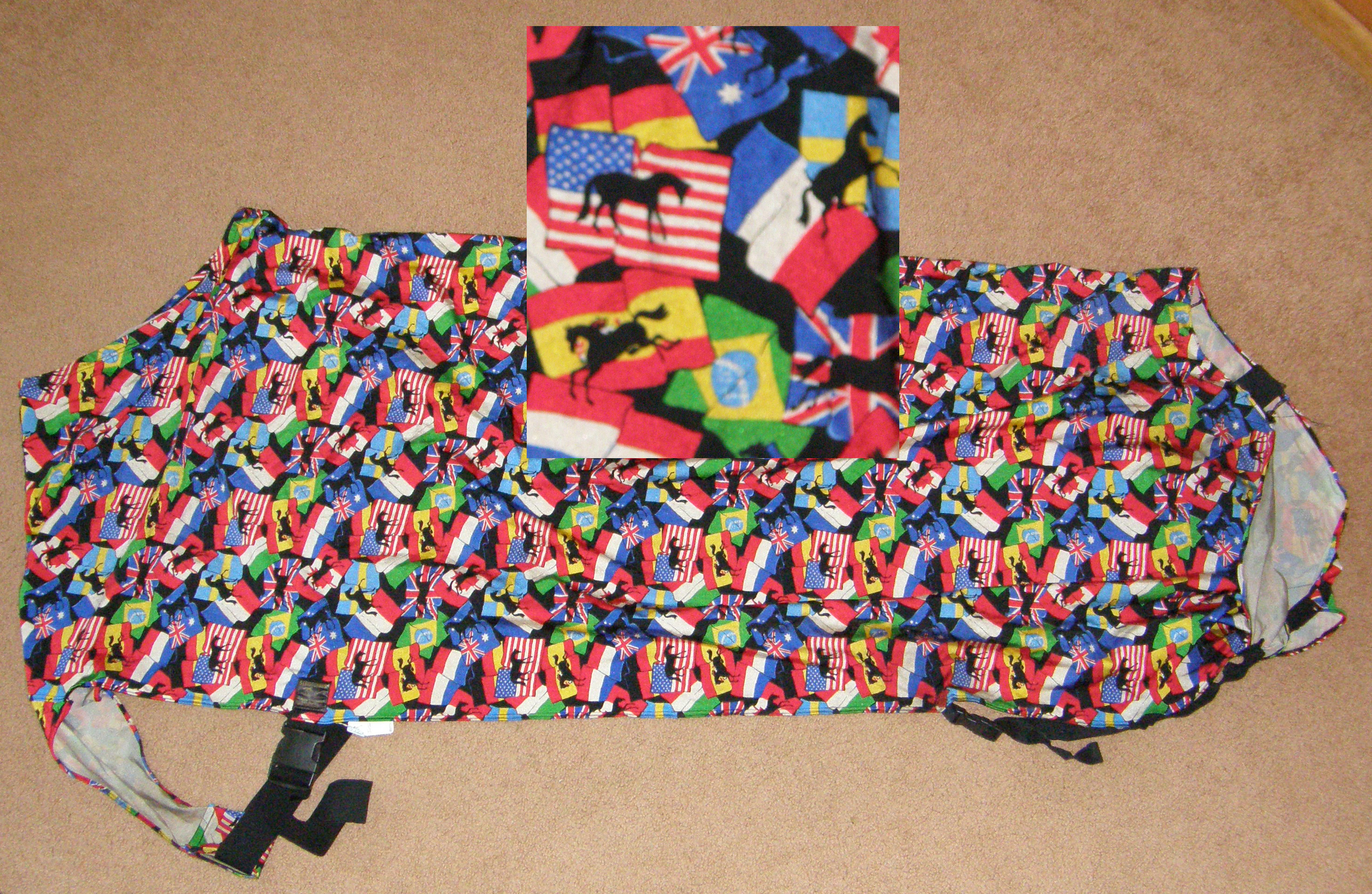 Intec Lycra Full Body Slinky Sheet Slinky Sheet Sleazy Sheet L Horse Horses & Flags Print