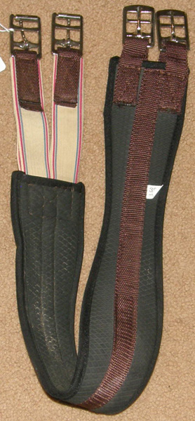 EquiRoyal? Tough 1? Synthetic Shaped Padded Neoprene English Girth with Elastic Ends Black/Brown 38""