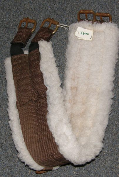 "33"" Fleece Lined English Girth Synthetic English Girth Elastic Ends Brown"