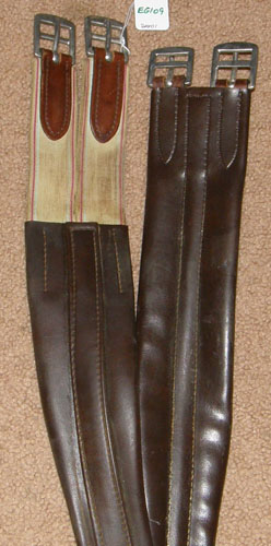 "46"" Shaped Leather Overlay English Girth Elastic Ends Brown"