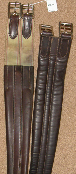 "48"" Shaped Leather Overlay English Girth Elastic Ends Contour Girth Padded"