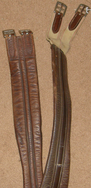 "49"" Shaped Leather Overlay English Girth Elastic Ends Contour Girth Padded Leather Girth Brown"