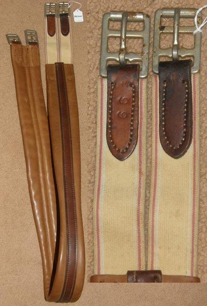 "68"" Shaped Leather English Girth Padded Contour Girth Elastic Ends Brown"