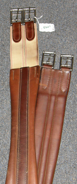 "48"" Shaped Leather English Girth Padded Leather English Girth Elastic Ends Dark Chestnut Brown"