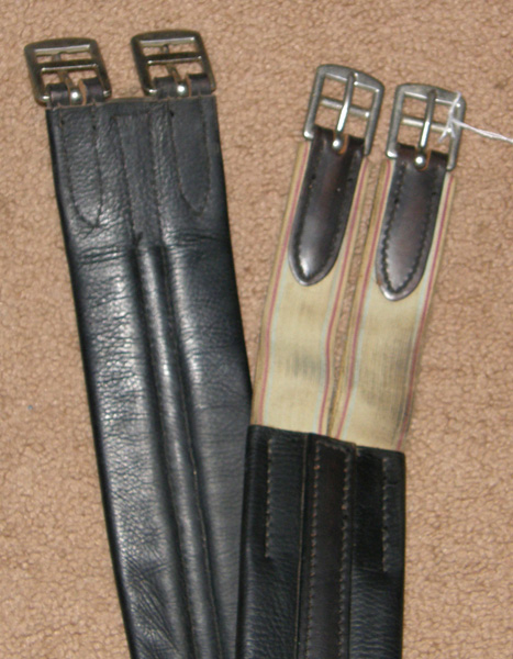 "49"" Shaped Leather English Girth Elastic Ends Black"
