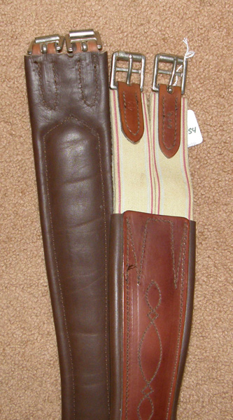 "42"" Shaped Leather Overlay English Girth Padded Leather English Girth Elastic Ends Brown"