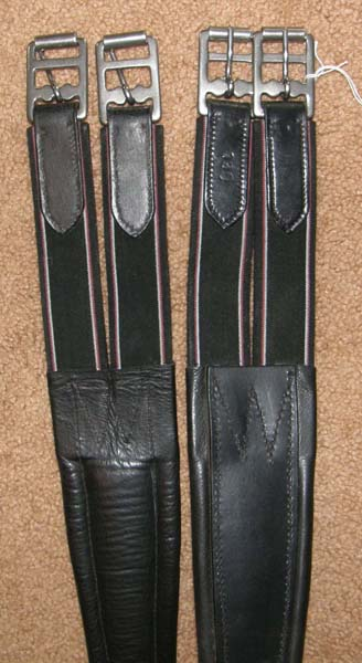 "54"" Shaped Leather Overlay English Girth Padded Contour English Girth Dual Elastic Ends Black"