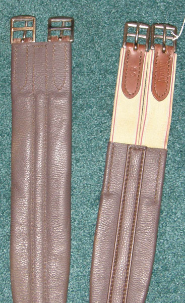 "Whitman Chafeless Shaped Leather English Girth Elastic Ends Brown 44"" 50"""