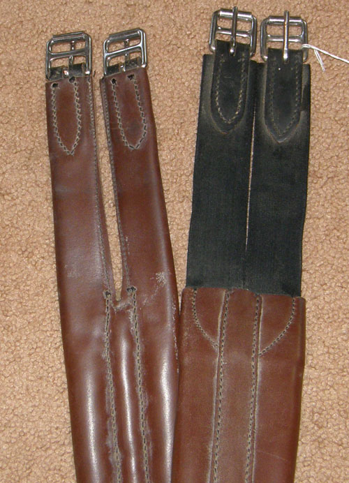 "Stubben 50"" Split End English Girth Padded Shaped Leather English Girth Elastic Ends Brown"