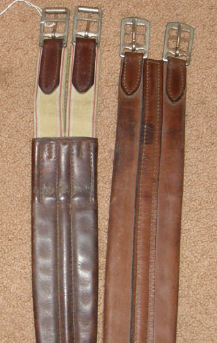 "Crosby? Beval? 59"" Padded Shaped Leather English Girth Elastic Ends Brown"