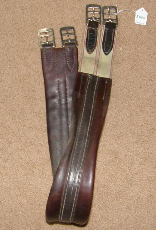 "41"" Shaped Padded Leather Overlay English Girth Elastic Ends Dark Brown"