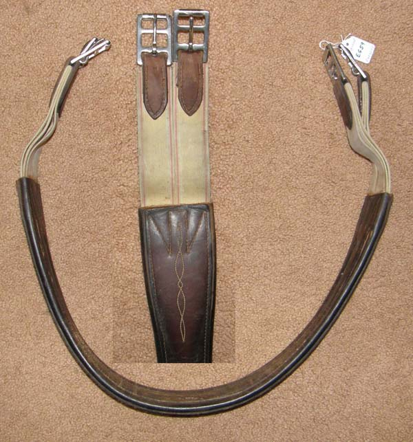"Edgewood 46"" Double Elastic Ends Fancy Leather Overlay Shaped Leather Girth Contour Leather English Girth Dark Brown"