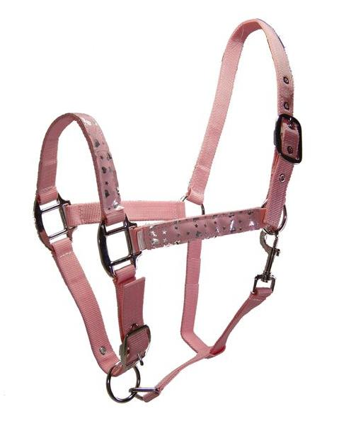 Unbridled Equine Pink Hearts & Stars Overlay Nylon Halter Adjustable Cob Horse Halter with Throat Snap
