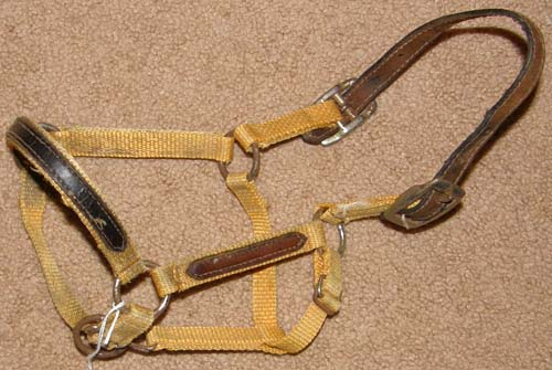 Adjustable Nylon Halter with Leather Trim Breakaway Halter Miniature Horse Pony Foal Mini Yellow