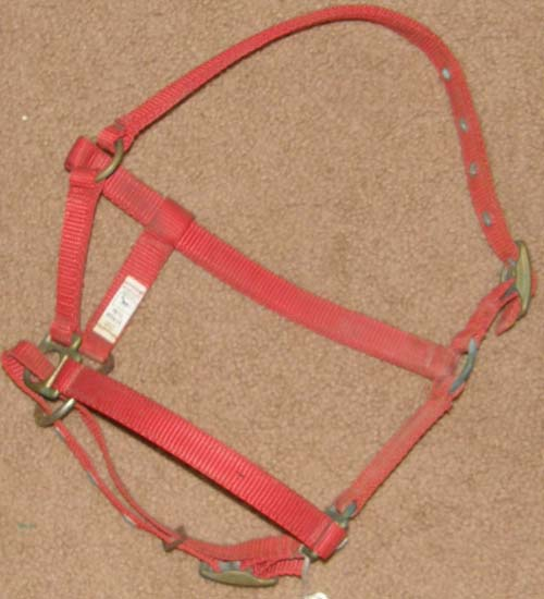 Ronmar Adjustable Halter Nylon Halter Miniature Horse/Donkey/S Pony Red