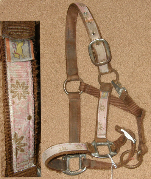 "Yellow Dog Design Heavy Duty Halter 1"" Nylon Halter Snap Throat Pony Brown/Pink Floral Overlay"