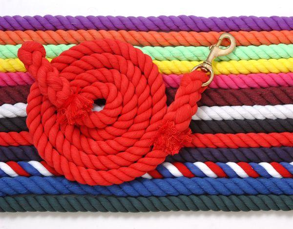 "Tough-1 Thick 1"" Cotton Lead with Bolt Snap Heavy Duty Lead Rope Purple Black Hunter Green Burgundy Red/White/Blue"