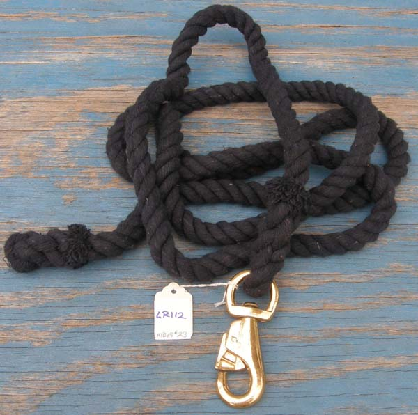 "Cotton Lead Rope with Brass Bull Snap 3/4"" x 10 1/2 Navy Blue"