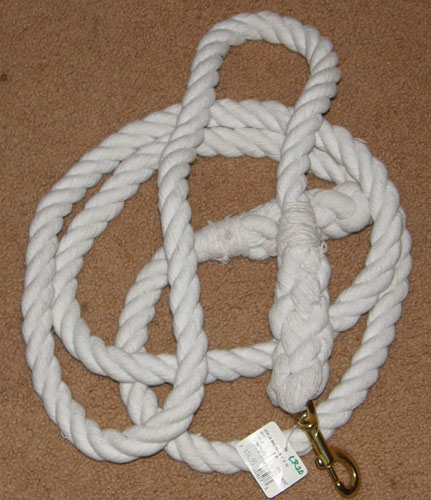 "Cotton Lead Rope With Brass Bolt Snap 1"" x 10' White"