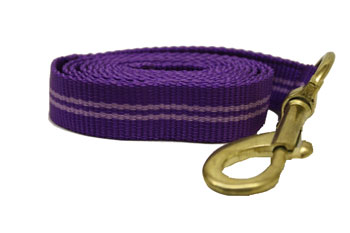 "Purple Lilac Stripe Nylon Lead with Brass Snap 1"" Nylon Dog Leash Purple/Lilac Stripe"