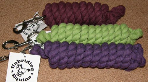 "Cotton Lead Rope with Bolt Snap 5/8"" x 6' Purple Lime Green Burgundy"