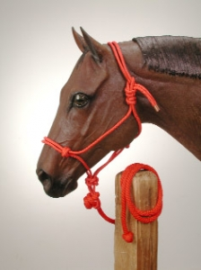 Lariat Brand Strong Poly Rope Tied Halter with Lead Rope Horse Halter Red/White