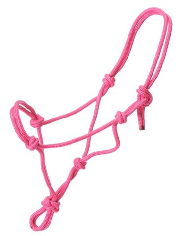 Tough-1 Miniature Poly Rope Tied Halter Mini Rope Halter Mini Horse Halter Pink Red Blue
