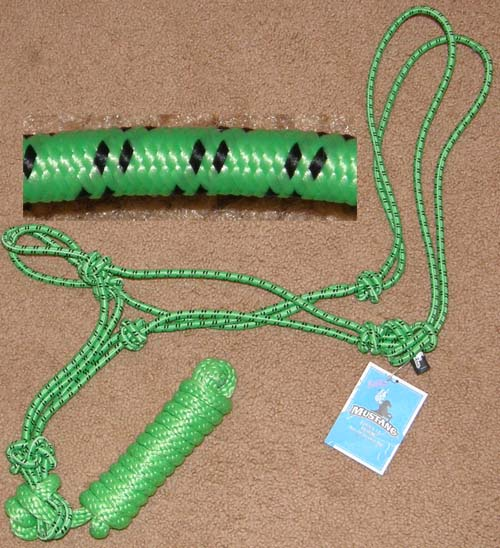 Mustang Economy Mountain Tied Rope Halter & Lead Rope 8104 ND Horse Halter Lime Green/Black