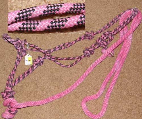 Poly Tied Rope Halter & Lead Rope Horse Halter Pink/Black