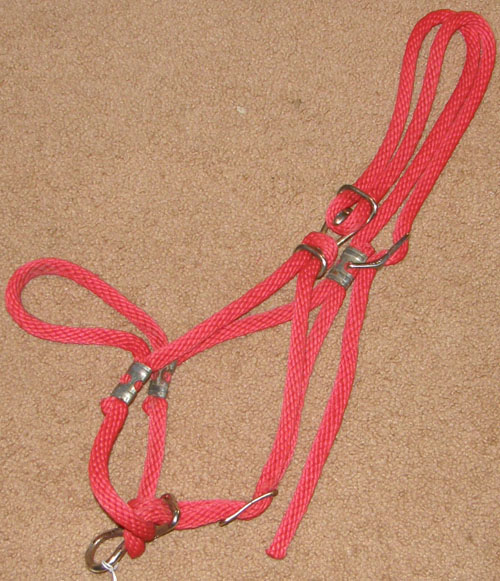 Adjustable Poly Tied Rope Halter Adjustable Rope Halter with Hardware Horse Red