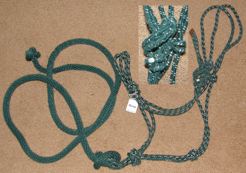 Poly Rope Tied Halter Rope Halter with Lead Rope Horse Hunter Green/White