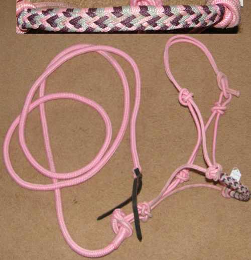 Poly Rope Tied Halter Rope Halter with Lead Rope Training Halter Horse Pink