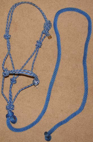 Poly Rope Tied Halter Rope Halter with Lead Rope Arabian Cob Blue/White