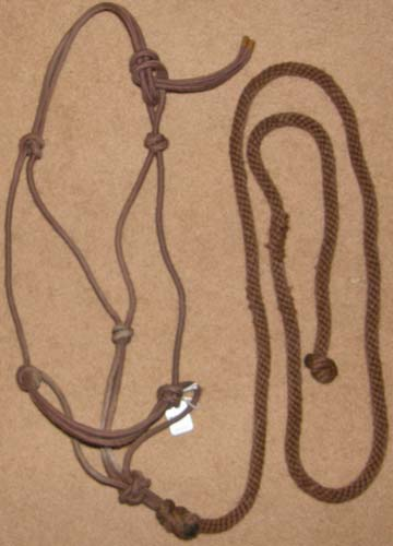 Poly Rope Tied Halter Rope Halter with Lead Rope Horse Brown