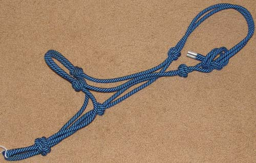 Poly Rope Tied Halter Rope Halter Cob/S Horse Blue/Black