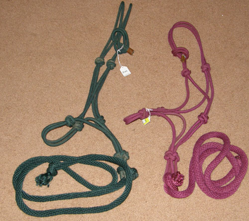 Poly Rope Halter & Lead Rope Tied Rope Horse Halter Burgundy Hunter Green
