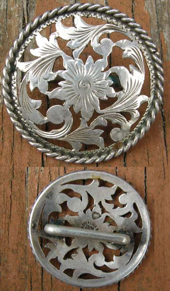 Vintage Fleming Sterling Silver Filigree Concho Silver Bridle Rosette Silver Trim Piece Loop Back Concho