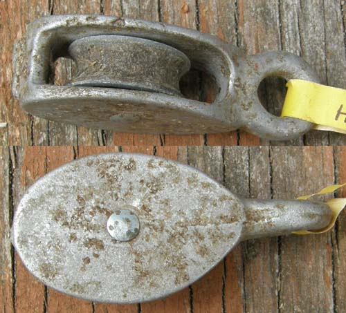 Vintage Cast Aluminum? Small Pulley Single Rope Block & Wheel