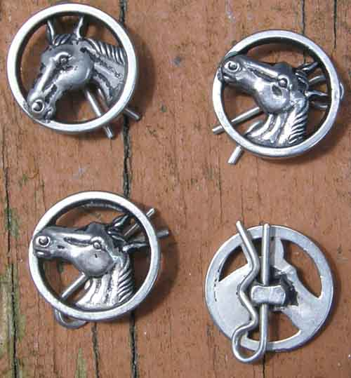 Vintage Silver Horse Head Buttons Horsehead Buttons