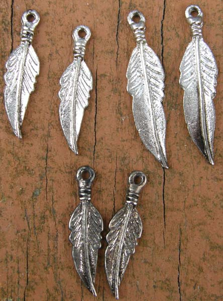 Jewelry Findings Silver Feathers Charms for Earrings Costumes