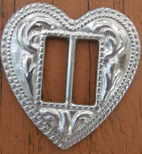 Silver Heart Slotted Concho Heart Silver Trim Piece