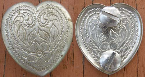 Vintage Silver Heart Concho Silver Trim Piece Screw Back Concho