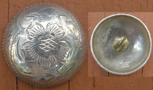 "Vintage Silver Trim Piece Screw Back 1 1/4"" Concho Engraved 5 Petal Poppy Concho"