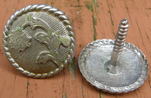"Vintage Nickel Silver Trim Piece Screw Back 1 1/2"" Concho Engraved Silver Saddle Screw Concho"