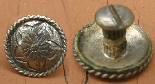 "Vintage? Silver Trim Piece Screw Back 3/4"" Concho Engraved Silver Concho Fancy Bridle Chicago Screw"