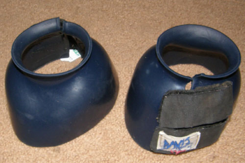 Davis Smooth PVC Bell Boots Overreach Boots Double Velcro Closure L Horse Navy Blue